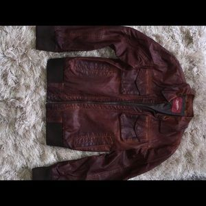 Mens Mahogany Brown Non Leather Bomber Jacket